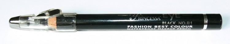 Princessa EYE SHADOW PENCIL tužka stínovací voděodolná s ořezávátkem černá - Dekorativní kosmetika Tužky stínovací
