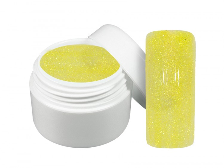 UV gel barevný neon glitter žlutý 5 ml