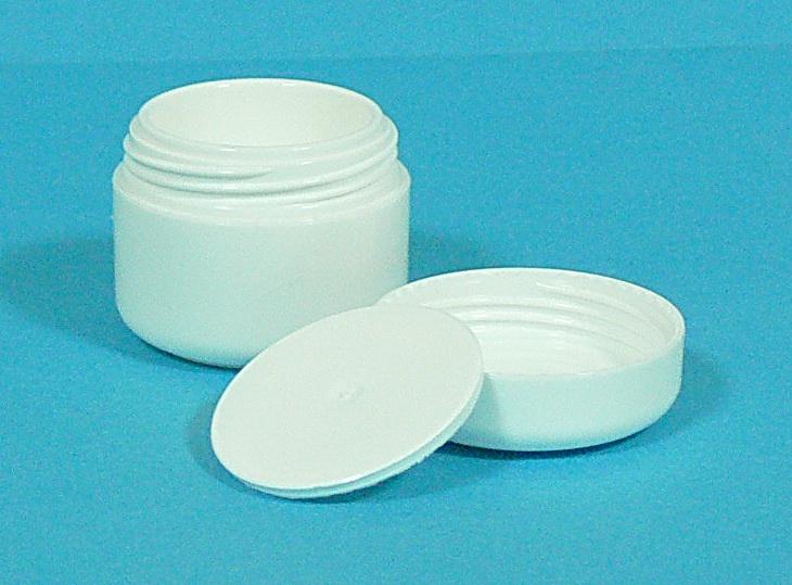 Dóza kosmetická 5 ml bílá dvouplášťová vč. těsnící plastové vložky a víčka