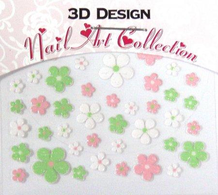 Zdobící nálepky na nehty 3D mini 24908 - Zdobící nálepky a obtisky na nehty Zdobící nálepky na nehty 3D mini - samolepící