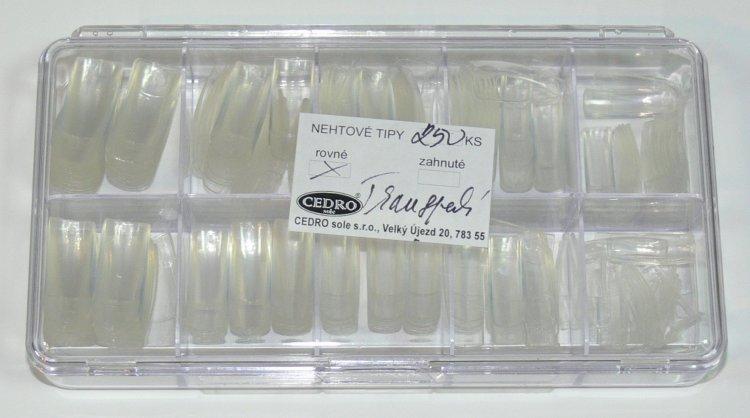 Nehtové tipy Cedro BOX 250 ks transparentní - Nehtové tipy pro nehtovou modeláž Nehtové tipy - boxy CEDRO