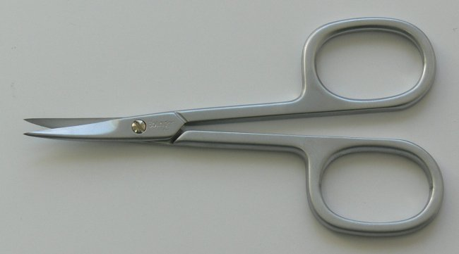 Nůžky na kůži PL 420C matné zahnuté Premium Line Solingen 9 cm - Kleště a nůžky na nehty a kůži pro manikúru a pedikúru, pinzety, pilníky, atd. Nůžky na nehty a kůži pro manikúru a pedikúru