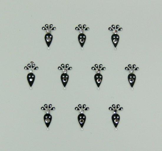 Samolepící nálepky na nehty 24066 - černé s kamínkem - Zdobící nálepky a obtisky na nehty Zdobící nálepky na nehty 3D s kamínky, černé - samolepící