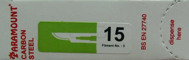 Čepelka skalpelová sterilní karbonová tvar 15 (PARAMOUNT)