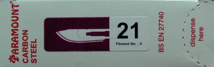 PARAMOUNT Čepelka skalpelová sterilní karbonová tvar 21