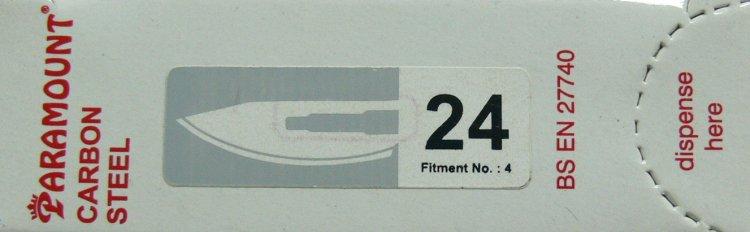 PARAMOUNT Čepelka skalpelová sterilní karbonová tvar 24
