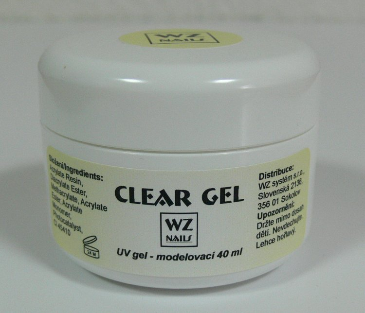 UV gel modelovací čirý Clear gel 40 ml - UV gely UV gely WZ NAILS