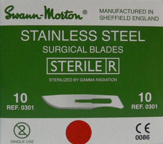 SWANN MORTON Čepelka skalpelová sterilní nerezová tvar 10 - Kleště a nůžky na nehty a kůži pro manikúru a pedikúru, pinzety, pilníky, atd. Skalpelové čepelky nerezové, držátka čepelek