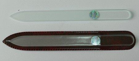 Pilník na nehty skleněný oboustranný 140/3 mm čirý - Leštičky, leštící bloky a pilníky na nehty pro nehtovou modeláž a manikúru Skleněné a barevné pilníky na manikúru Jednobarevné čiré