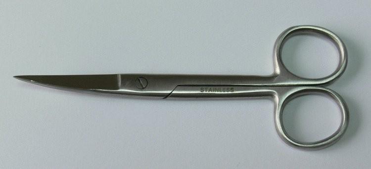 Nůžky chirurgické zahnuté hrotnaté 13 cm