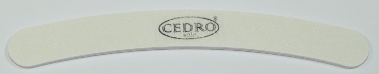 Pilník na nehty 100/120 bílý zahnutý Cedro - Leštičky, leštící bloky a pilníky na nehty pro nehtovou modeláž a manikúru Pilníky na nehty pro nehtovou modeláž a manikúru - zahnuté a rovné široké