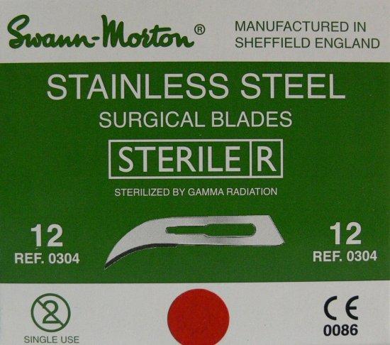 SWANN MORTON Čepelka skalpelová sterilní nerezová tvar 12 - Kleště a nůžky na nehty a kůži pro manikúru a pedikúru, pinzety, pilníky, atd. Skalpelové čepelky nerezové, držátka čepelek