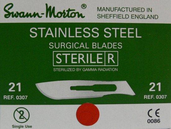 SVANN MORTON Čepelka skalpelová sterilní nerezová tvar 21