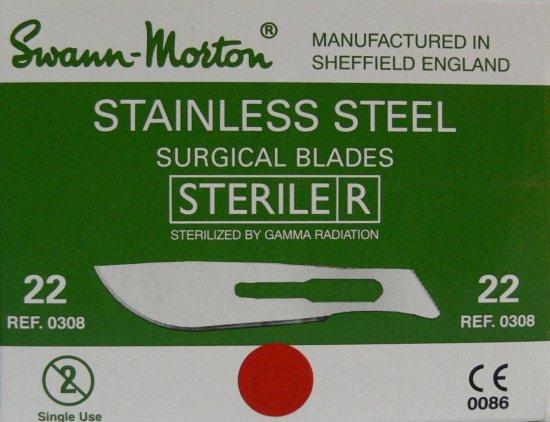 SWANN MORTON Čepelka skalpelová sterilní nerezová tvar 22 - Kleště a nůžky na nehty a kůži pro manikúru a pedikúru, pinzety, pilníky, atd. Skalpelové čepelky nerezové, držátka čepelek