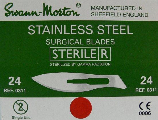 SWANN MORTON Čepelka skalpelová sterilní nerezová tvar 24 - Péče o ruce Kleště a nůžky na nehty a kůži pro manikúru a pedikúru, pinzety, pilníky, atd. Skalpelové čepelky nerezové, držátka čepelek