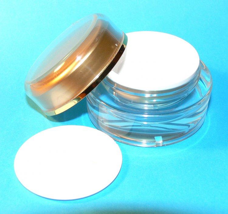 Dóza kosmetická 15 ml dvouplášťová vč. těsnící plastové vložky a zlatého víčka - Péče o ruce Obalový materiál