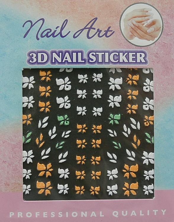 Barevné 3D nálepky samolepící 02 - Péče o ruce Zdobící nálepky a obtisky na nehty Zdobící nálepky na nehty 3D samolepící - různé