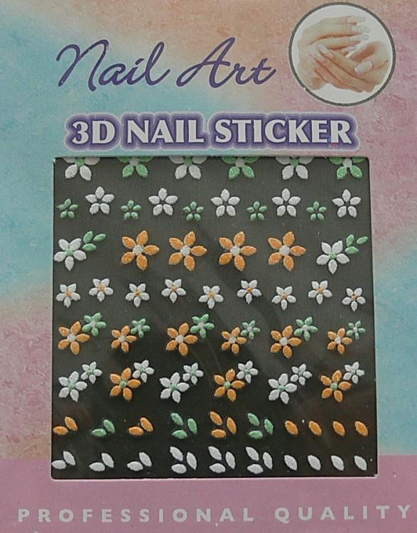 Barevné 3D nálepky samolepící 04 - Zdobící nálepky a obtisky na nehty Zdobící nálepky na nehty 3D samolepící - různé