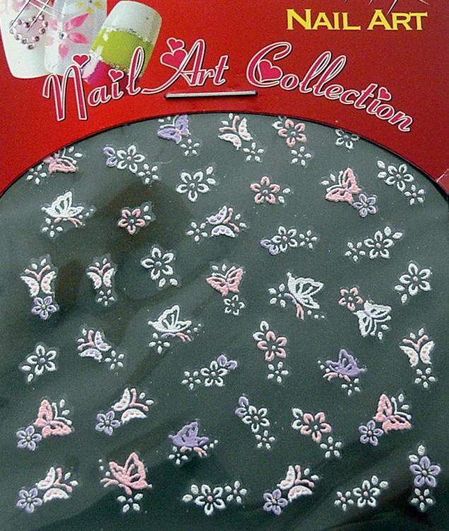 Samolepící nálepky na nehty - motýlci a květy S3DW02 - Péče o ruce Zdobící nálepky a obtisky na nehty Zdobící nálepky na nehty 3D motýlci - samolepící