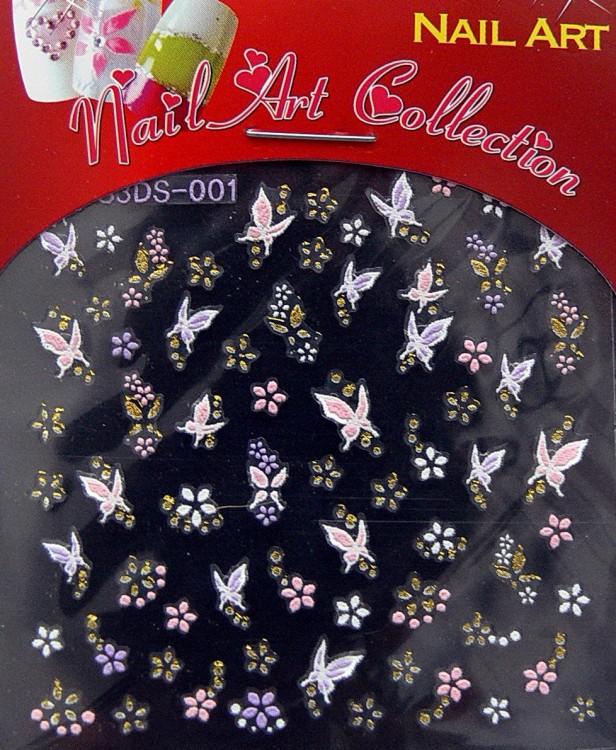 Samolepící nálepky na nehty - motýlci a květy S3DW13 - Zdobící nálepky a obtisky na nehty Zdobící nálepky na nehty 3D motýlci - samolepící