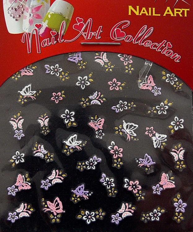 Samolepící nálepky na nehty - motýlci a květy S3DW14 - Péče o ruce Zdobící nálepky a obtisky na nehty Zdobící nálepky na nehty 3D motýlci - samolepící