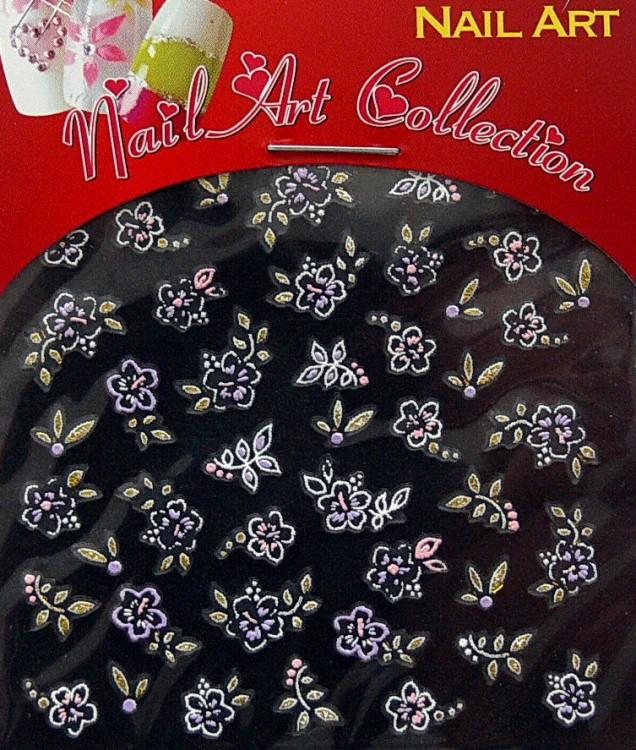 Samolepící nálepky na nehty - motýlci a květy S3DW15