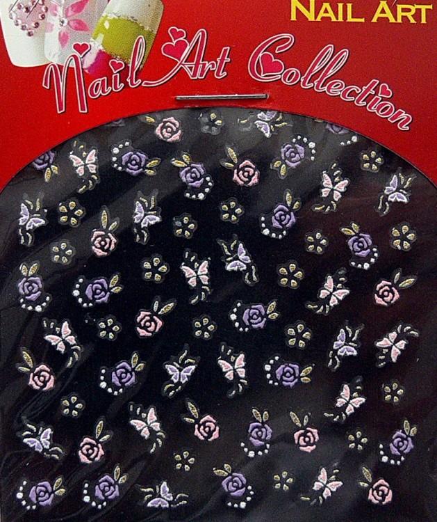 Samolepící nálepky na nehty - motýlci a květy S3DW17 - Péče o ruce Zdobící nálepky a obtisky na nehty Zdobící nálepky na nehty 3D motýlci - samolepící