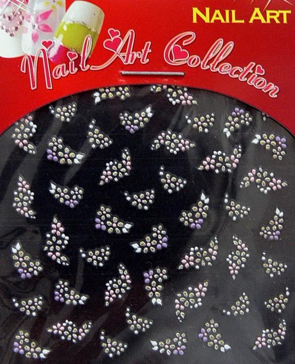 Samolepící nálepky na nehty - motýlci a květy S3DW22 - Péče o ruce Zdobící nálepky a obtisky na nehty Zdobící nálepky na nehty 3D motýlci - samolepící