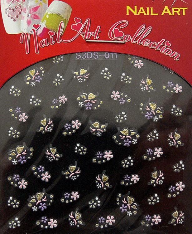 Samolepící nálepky na nehty - motýlci a květy S3DW23 - Péče o ruce Zdobící nálepky a obtisky na nehty Zdobící nálepky na nehty 3D motýlci - samolepící
