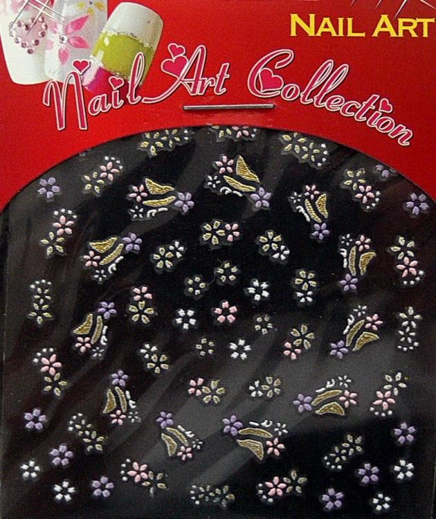 Samolepící nálepky na nehty - motýlci a květy S3DW24 - Zdobící nálepky a obtisky na nehty Zdobící nálepky na nehty 3D motýlci - samolepící