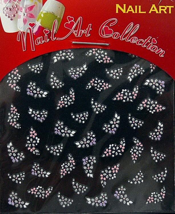 Samolepící nálepky na nehty - motýlci a květy S3DW10 - Zdobící nálepky a obtisky na nehty Zdobící nálepky na nehty 3D motýlci - samolepící