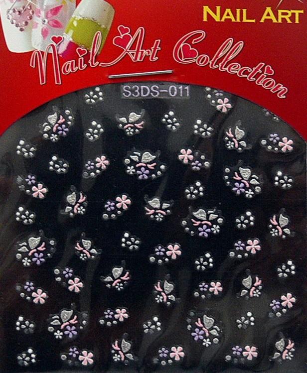 Samolepící nálepky na nehty - motýlci a květy S3DW11 - Zdobící nálepky a obtisky na nehty Zdobící nálepky na nehty 3D motýlci - samolepící