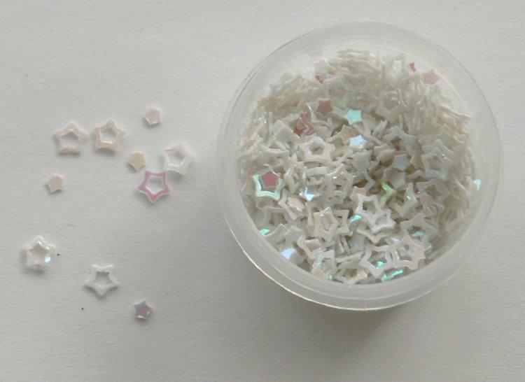 Holografické hvězdičky na zdobení nehtů bílé - Nail Art, zdobící materiály Holografická srdíčka a hvězdičky na zdobení